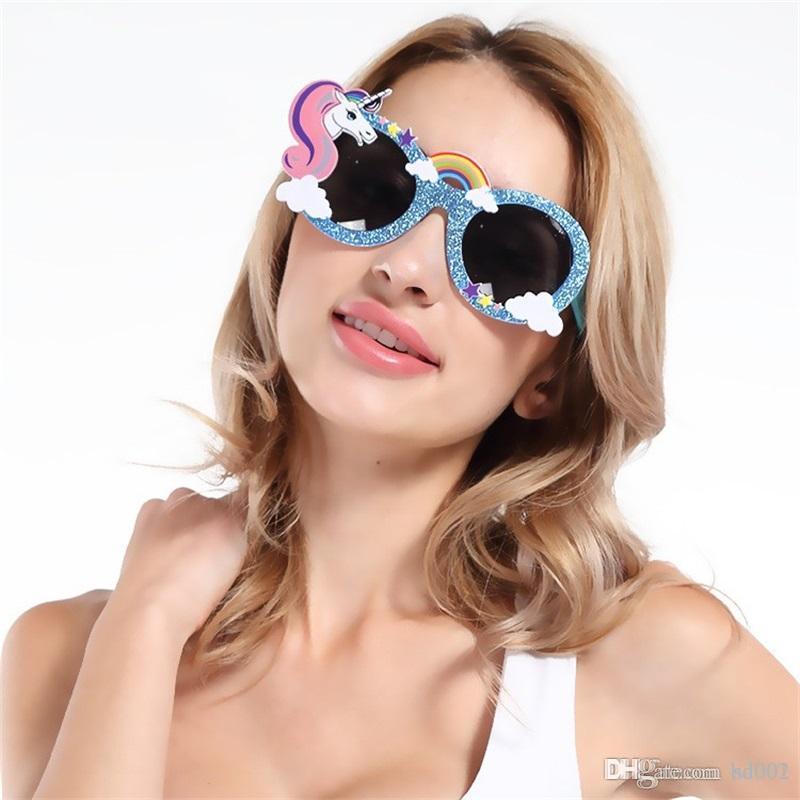 Lindo Divertido Gafas de Oro de Dibujos Animados Glitter Unicornio En Forma de Anteojos Para Fiesta de Cumpleaños Decoración Caballo Espectáculos de Alta Calidad 11 5sf BB