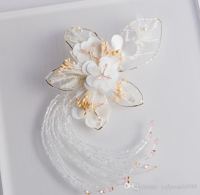 Nowa nakrycia głowy panny młodej, biały motyl kwiat, szpilka kwiatowa Kwiat, ornament ślubny Akcesoria do włosów