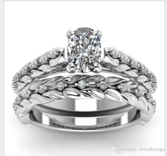 Flauta esculpida com 2 peças de diamante Lovers anel anel de pétalas