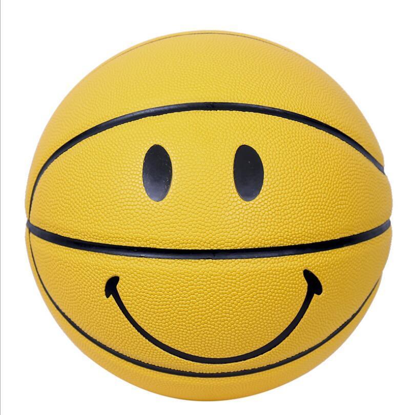 Acheter Vente Chaude Nouveau Sourire Visage Ballon De Basket Ball En PU Matériau Officiel Taille 7 Basketballs Garçon Cadeau D'anniversaire De $44.61