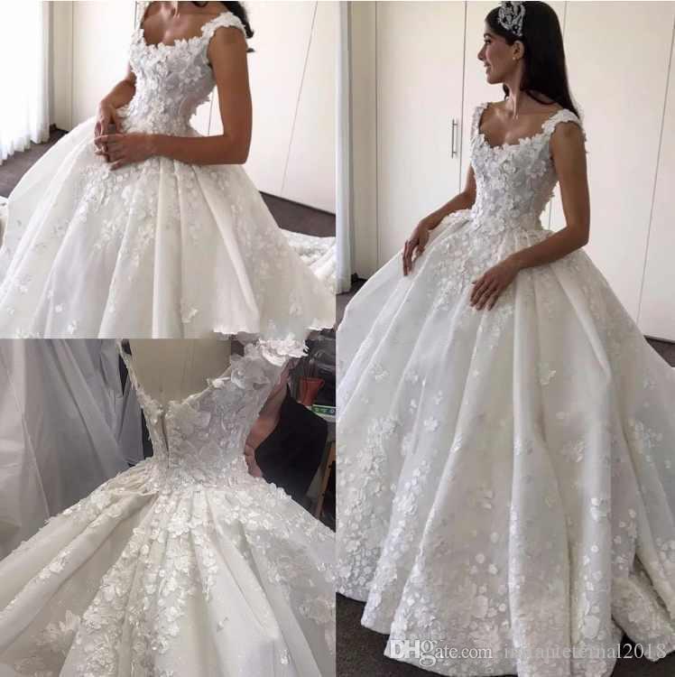 2018 vestidos de novia elegante vestido de bola vestidos de novia Scoop apliques de encaje sin mangas Sexy cremallera espalda vestidos de novia por encargo de la boda ir
