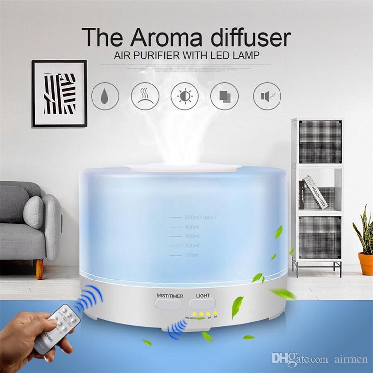 Umidificatore ad ultrasuoni con telecomando per diffusore di olio essenziale 500ml con luci a LED per umidificatore ad ultrasuoni per uso domestico DHL