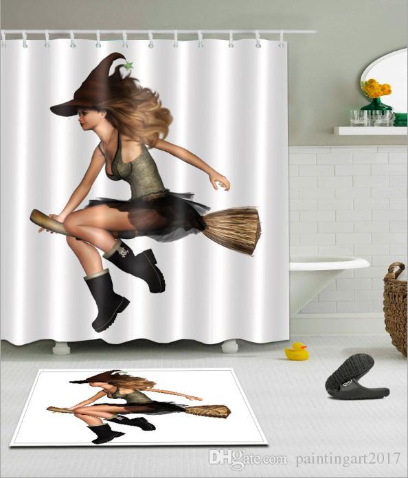 Девичья ведьма шаблон 3D печати пользовательских водонепроницаемый ванная комната современный душ занавес полиэстер ткань занавес ванной двери коврик наборы
