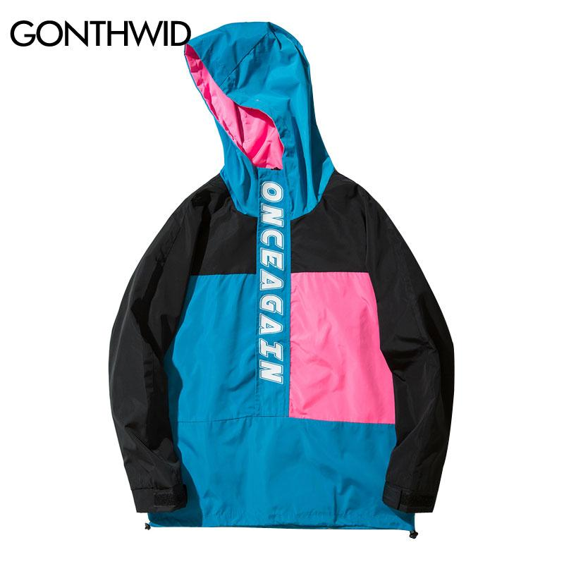 Wholesale-GONTHWID Color Block Patchwork Pullover Jackets Men Casual Stand Collar Zip Up Track Jacket 2017 Autumn Male Hip Hop Streetwear