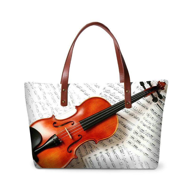 Violin Print Women Handbags Fashion Big Casual Totes Bag Musical Note Pattern Ladies Shoulder Bags Female Crossbody Bag Girls Top-handle Bag