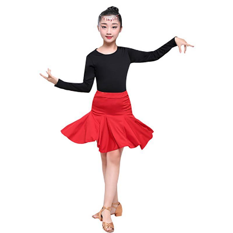New Red Spandex Vestido de Dança Latina Tops + Saia Vestido de Dança de salão Para Meninas Crianças Tango Rumba Fino Trajes Latina XC9035