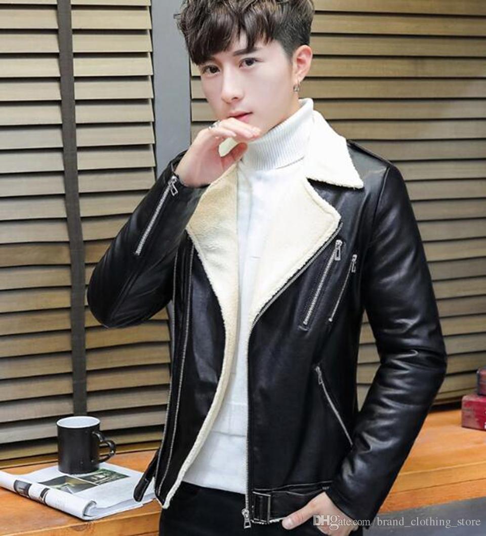 Herbst und Winter Mode-Trend von Europa der Vereinigten Staaten neue südkoreanische Version von Männern Lamm Pelz Kragen Ledermantel M-2XL