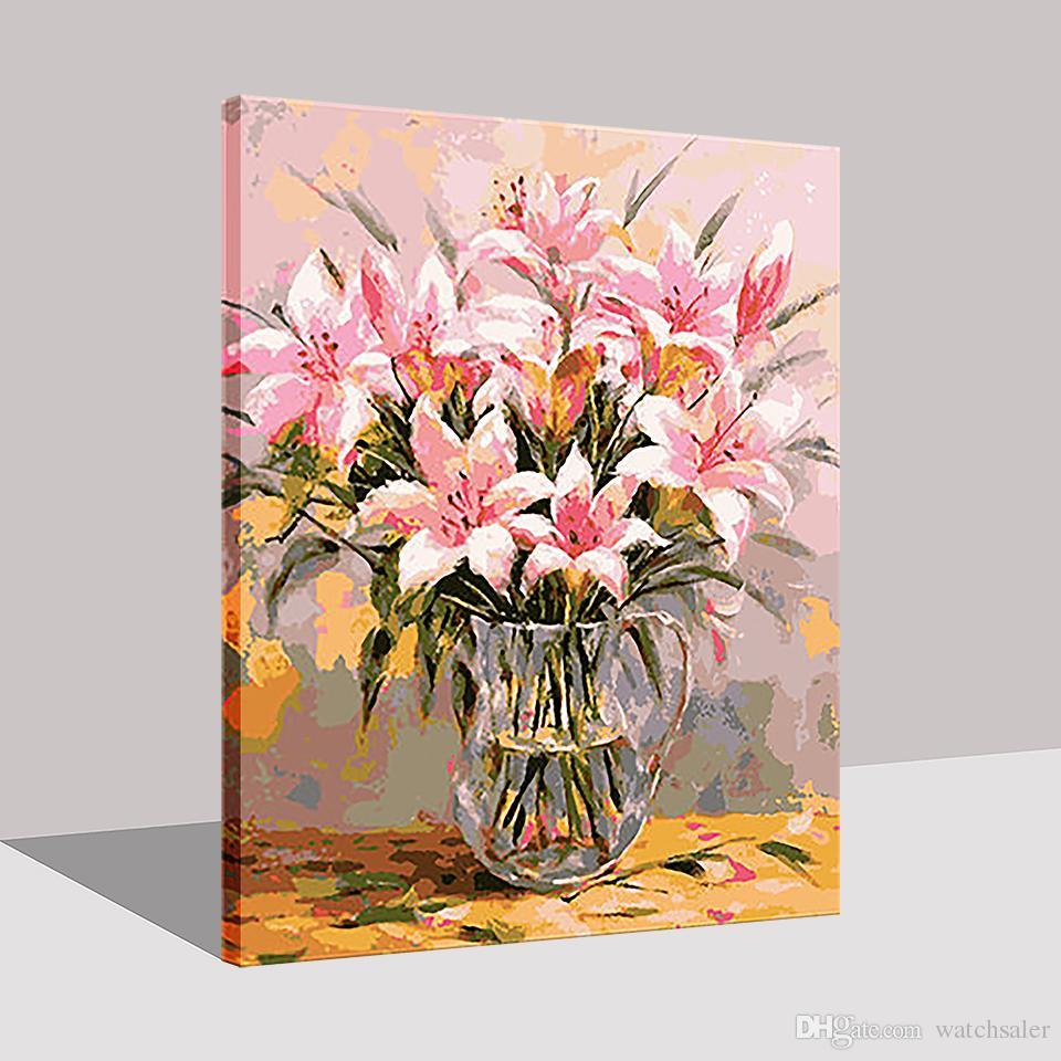 DIY pintura por números lírio flores kit de parede de parede imagem decorações home pintado de coloração por números para presente