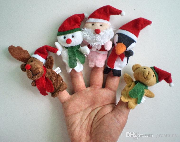 5Pcs/lot Christmas Baby Plush Toys Cartoon Happy Family Fun Animal Finger Hand Puppet Kids Learning & Education Toys Gifts