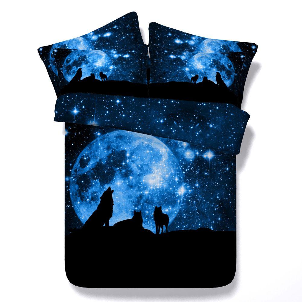 3D lupi galassia letto di copriletti Copripiumino Lenzuola ragazzi gemelli per ragazze teens copertura consolatore adulto blu luna Pillow Shams