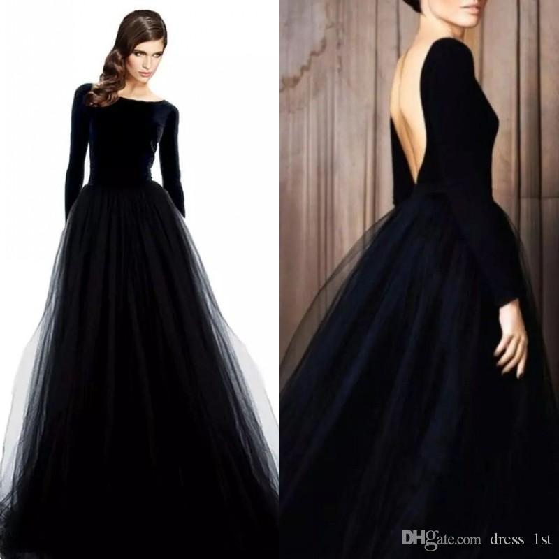 stunning long sleeve evening gowns black velvet dresses evening wear bateau neck low cut back a line tulle skirt formal dresses 2019