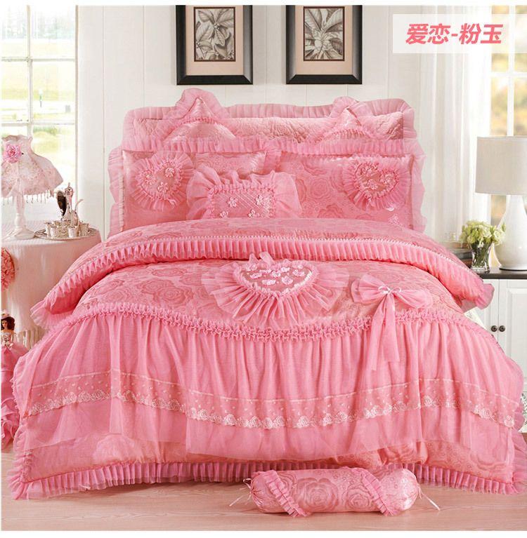Em forma de coração 4pcs rosa jogo de cama de luxo rainha do rei roupas de cama de casamento cama lençóis de algodão set Princesa Lace capa de edredão