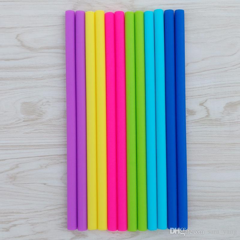 Barware Colors Straight Silicone Straw para 20 oz 30 oz cup Gel de sílice Drink paja pajitas lin2511