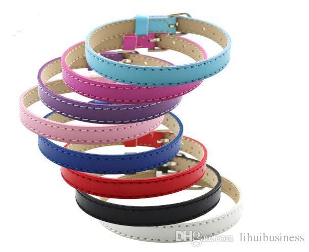 10 colors hot sale 20PCS/lot 8MM Artificial Leather DIY Wristband Bracelets femme Mix Color Charms Leather Bracelet Fit Slide Letter charms