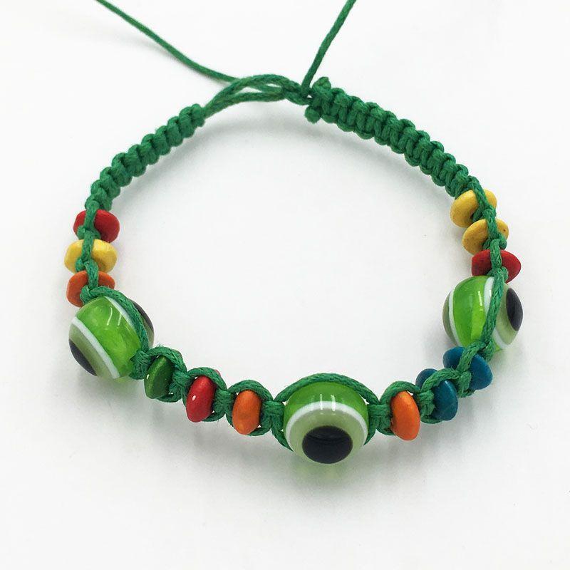 Wholesale 24pcs/lot Evil Eye Green String Ethnic Bracelets Lucky Turkish Eye Charm Bead Success Bracelet Free Shipping