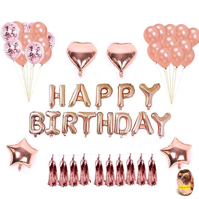 Venta al por mayor 1 juego Rose Gold Star Heart Foil Balloons Air Wedding Ballon Helium Balloon Happy Birthday Party Decoration