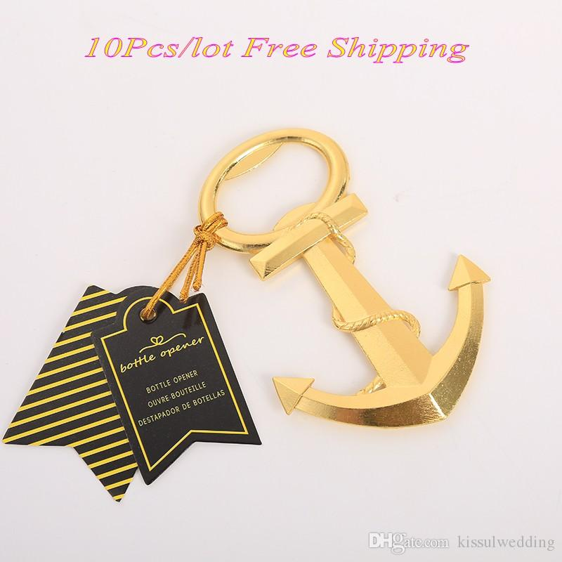 (10 Pieces/lot) Gold themed wedding souvenirs of Gold Nautical Anchor Bottle Opener Wedding decoration gift and Party favors