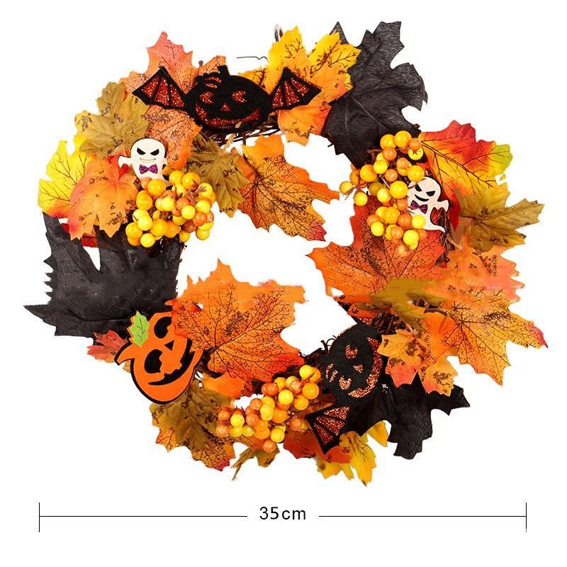 35 см Хэллоуин рождественские гирлянды моделирования осенние листья тыквы ягоды фонарь гирлянды дома столовая окна украшения