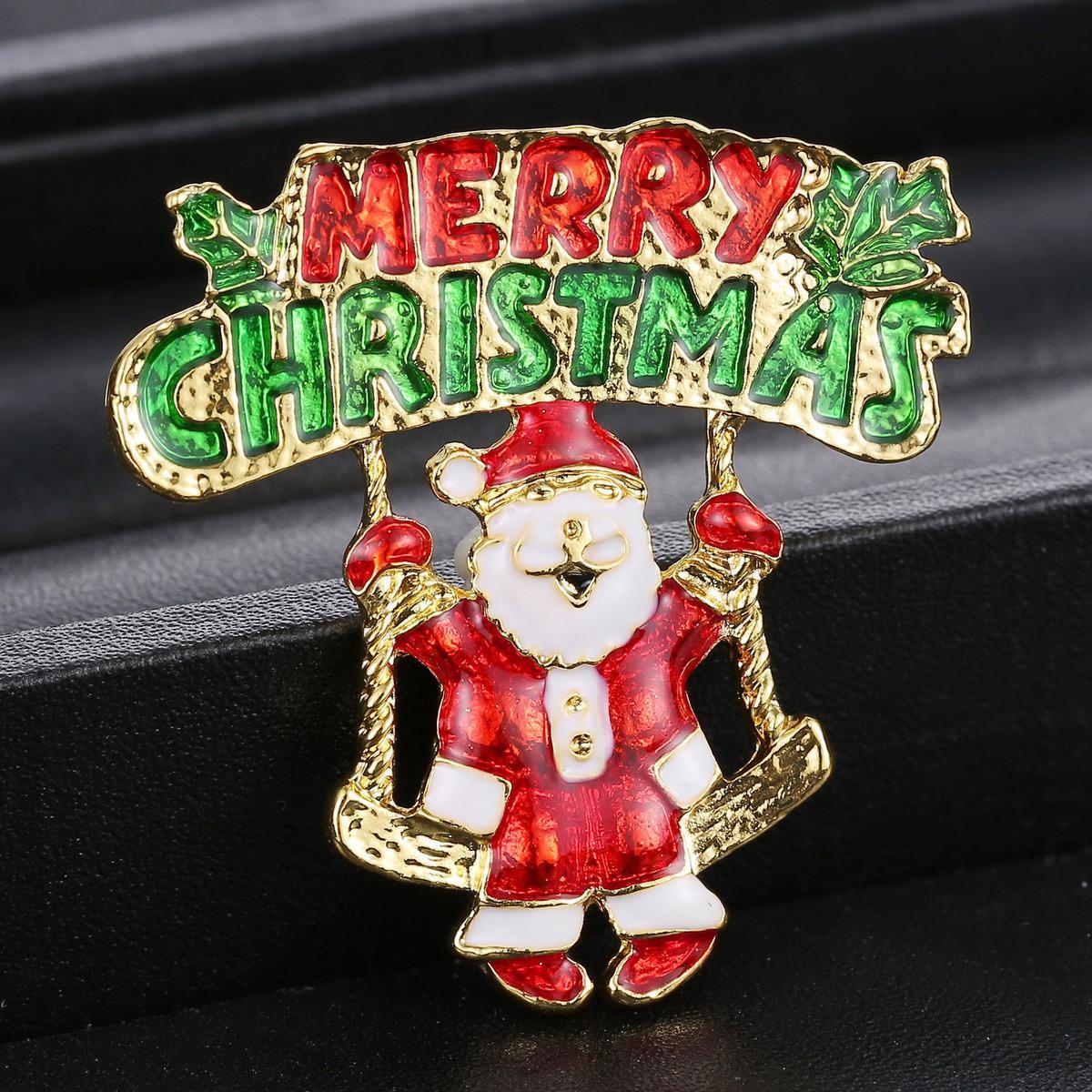12 style émail bonhomme de neige santa tree broche broche cadeaux de noël jingle bell bottes broches charme cristal cadeau de noël