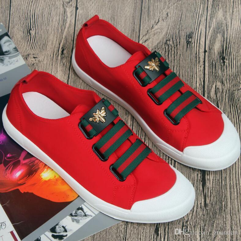 Novo Top Vender Preto Branco Couro Vermelho Flor Bordado Sapatos Casuais Moda para Homens Frete Grátis 2dx10