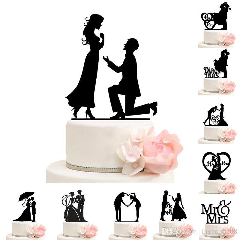 100 Pcs Gâteau De Mariage Topper Mariée Mariée M. Mme Acrylique Noir Gâteau Toppers Décoration De Mariage Mariage Fournitures de Fête Adulte Faveurs