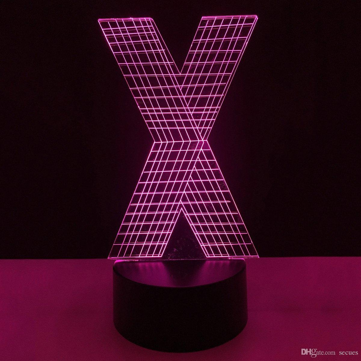 New X Letter Shape 3D Illusion LED Lamp Letters Decoration Lamp DC 5V USB Powered 5th Battery Wholesale Free Shipping