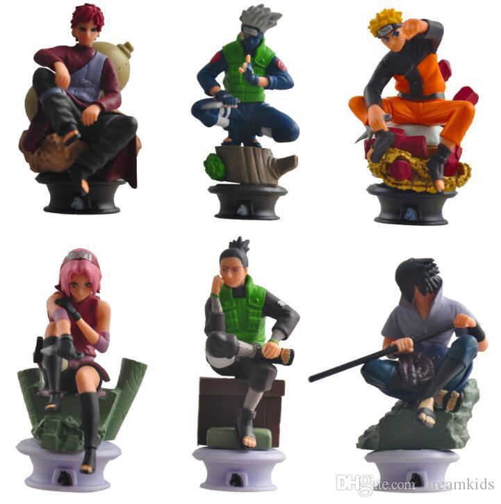 6pcs / lot Naruto Abbildung Serie Spielzeug Itachi Gaara Kakashi Shikamaru Sasuke Minato Neji Schmerz Deidara Sasori Mini Modell Dolls