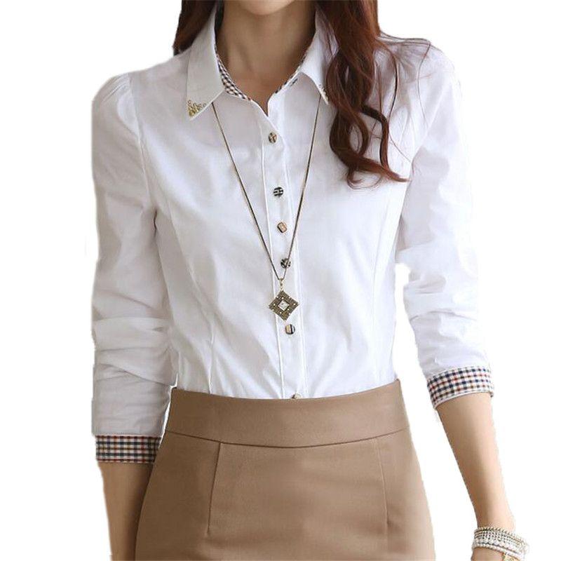 Para estrenar 34ecb 60807 Compre Mujeres Camisas Blancas Formales S 5XL De Manga Larga Para Mujer  Dama Blusa Informal Tops Cuello De Gasa Blusas Camisa De Trabajo 32646 A ...