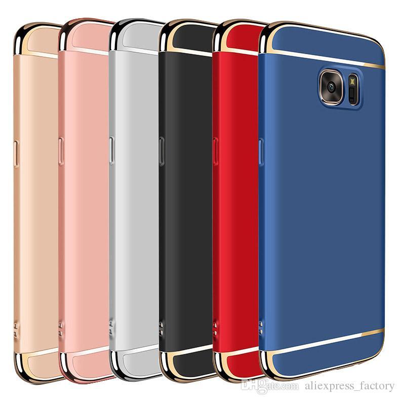 3 W 1 Platerowanie Galwanizacja Hard PC Pokrywa Matowa Case dla Samsung Galaxy S10 E 5G S9 S8 Plus Uwaga 9 8 A10 A20 A40 A50 A60 A70 M10 M20 M30