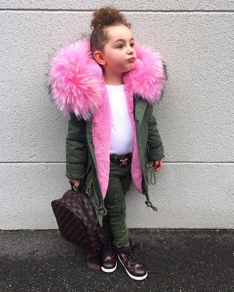 2017 Inverno Ragazzi Ragazze Donw Giacche Bambino Super Big Fur Parka Zipper Bambini Rosa Cappotti Piuma Piuma Fuax Vestiti di Pelliccia