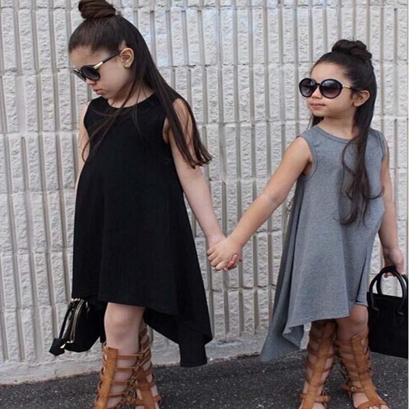 2017 neue Baumwolle Weste Kinder Kleid Sommer Sleeveless Beiläufige Mädchen Kleid Schwarz Grau Kinder Kleidung für 3 4 5 6 7 Jahre Mädchen