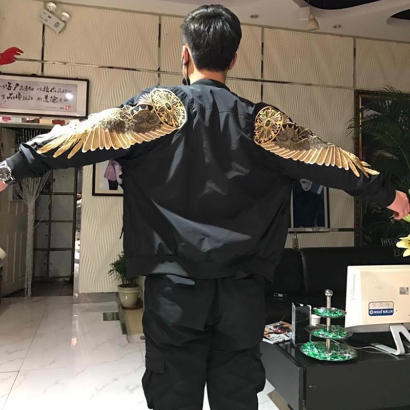 새로운 봄 블랙 자수 폭격기 kanye 재킷 남성 스트리트 브랜드 의류 디자이너 하이 스트리트 재킷