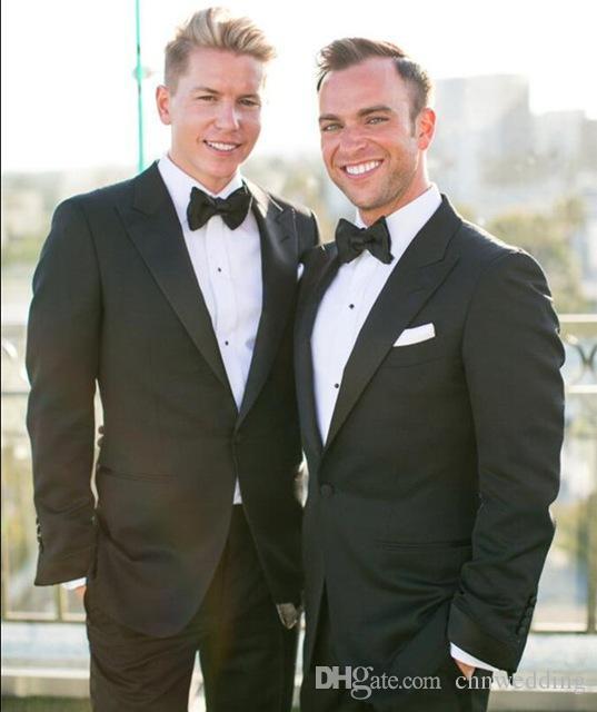 Özel Slim Fit Siyah Erkekler Damat Smokin için 2018 Blazer Düğün Takım Elbise Iş Erkek Parti Takımları (Ceket + pantolon)