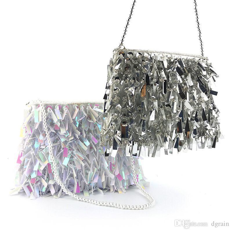 Dgrain Neue Ankunft Bling Frauen Abend Handtasche Handgemachte Pailletten Kette Tasche Europa und Amerika Perlen Geldbörsen Mode Bankett Handtasche Bolsas