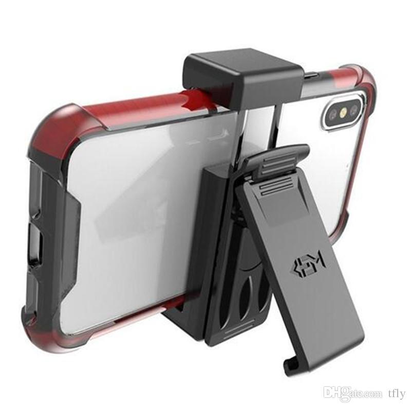 Soporte universal con clip de cinturón para FITS soporte para teléfono celular para el iPhone X XS 7 8 9 Plus Samsung Galaxy S9 Plus Nota 9 Caso paquete al por menor