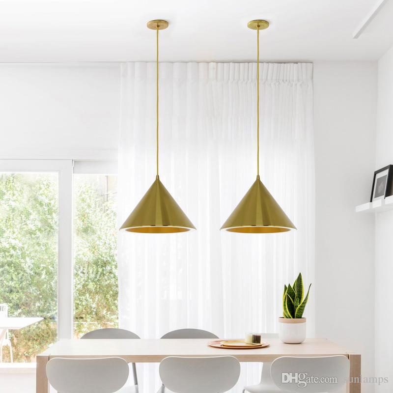Modern Nordic Restaurant Pendant Lights drawing brass gold aluminum Suspension Luminaire new halo single bar Led Lamp Lighting