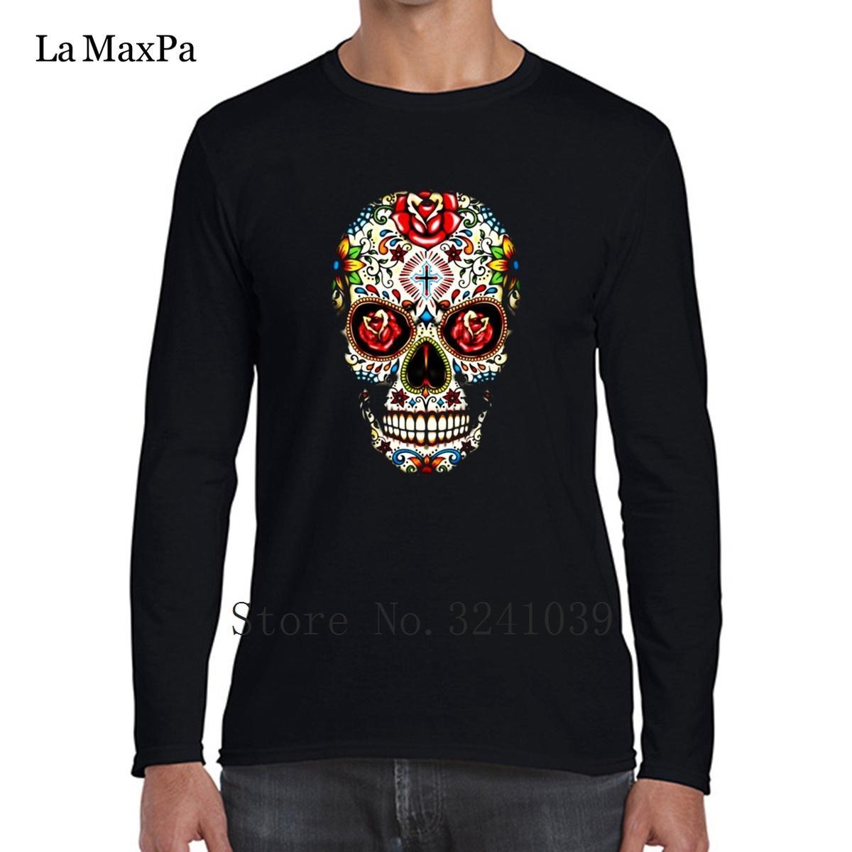 La Maxpa сахар череп розы глаза День мертвых установлены Мужские футболки стандартная Весна мужская футболка Homme S-3xl футболка мужская