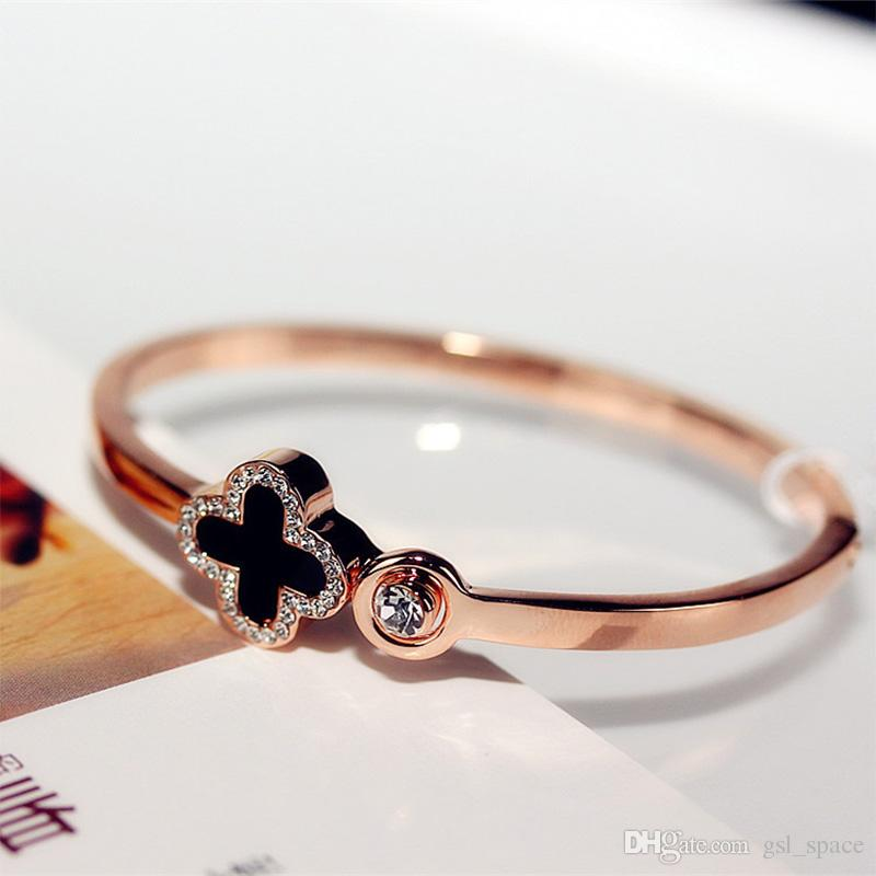 الكريستال أربعة ورقة البرسيم أساور الإسورة صفعة إلكتروني الحب سحر الماس ملهمة مجوهرات للنساء الفتيات محظوظ هدية إسقاط الشحن