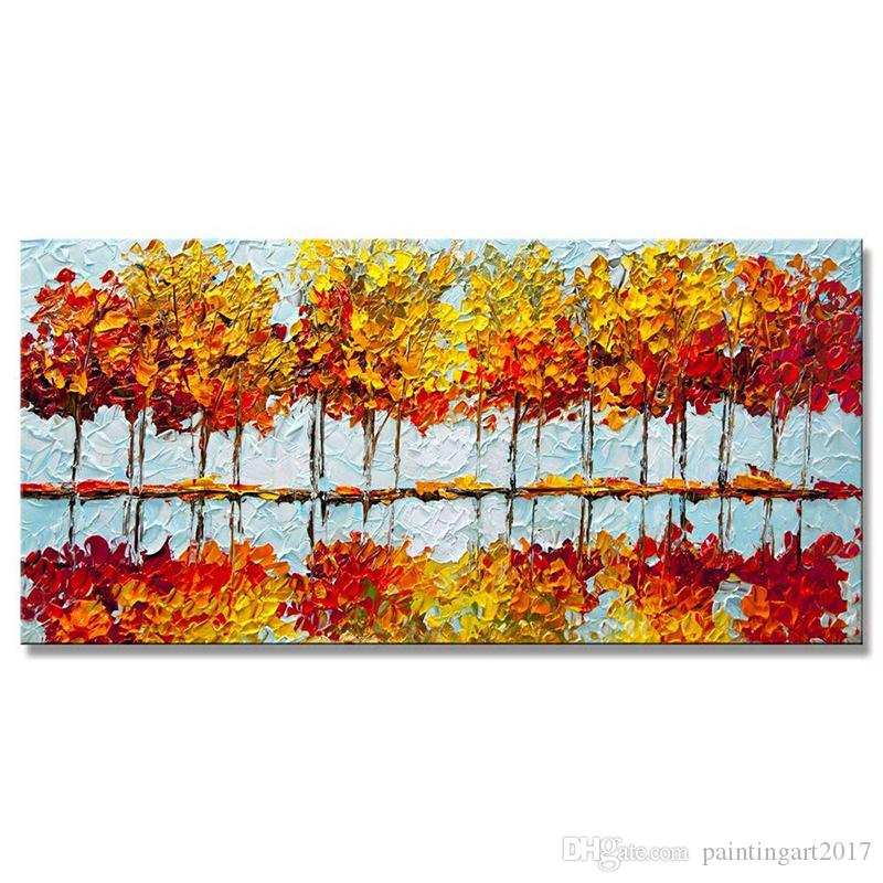Handmade Red Blooming Trees Painting Red Blossom Textured Art Summer Red Painting Modern Palette Knife Blooming Trees