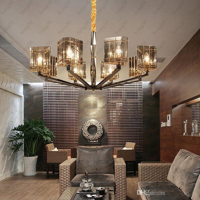 Großhandel Hot Postmoderne Art Deco Kronleuchter Kreative Mediterrane  Cognac Farbe Glas Kristall Pendelleuchten Wohnzimmer Bar Villen Beleuchtung  Ligh ...