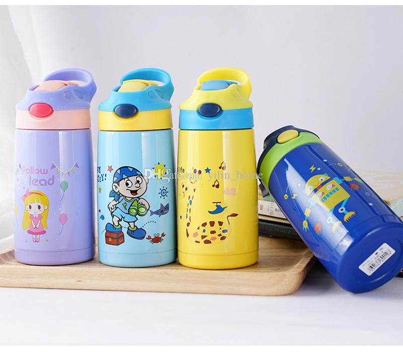 어린이 진공 컵 절연 이중 벽 304 스테인레스 스틸 머그잔 만화 아이 컵 학생 짚 컵