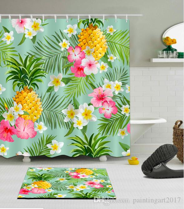 Shower Curtain Waterproof Red Flowers Tropical Leaves Polyester Bathroom Mat Set
