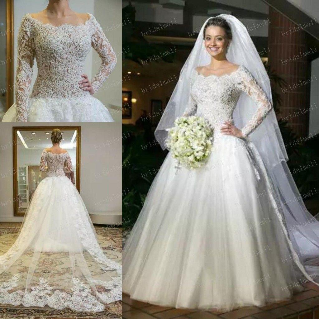 Precioso 2019 rebordear perlas encaje vestidos De novia con manga larga escote redondo árabe africano vestidos De novia más tamaño Vestido De Novia