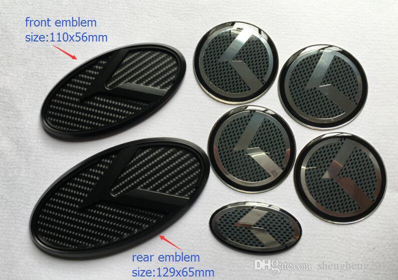 Il trasporto libero 7 pz / set Nuovo emblema distintivo 3D logo in carbonio nero K per KIA OPTIMA K5 2011-2018 / emblemi auto / adesivo 3D