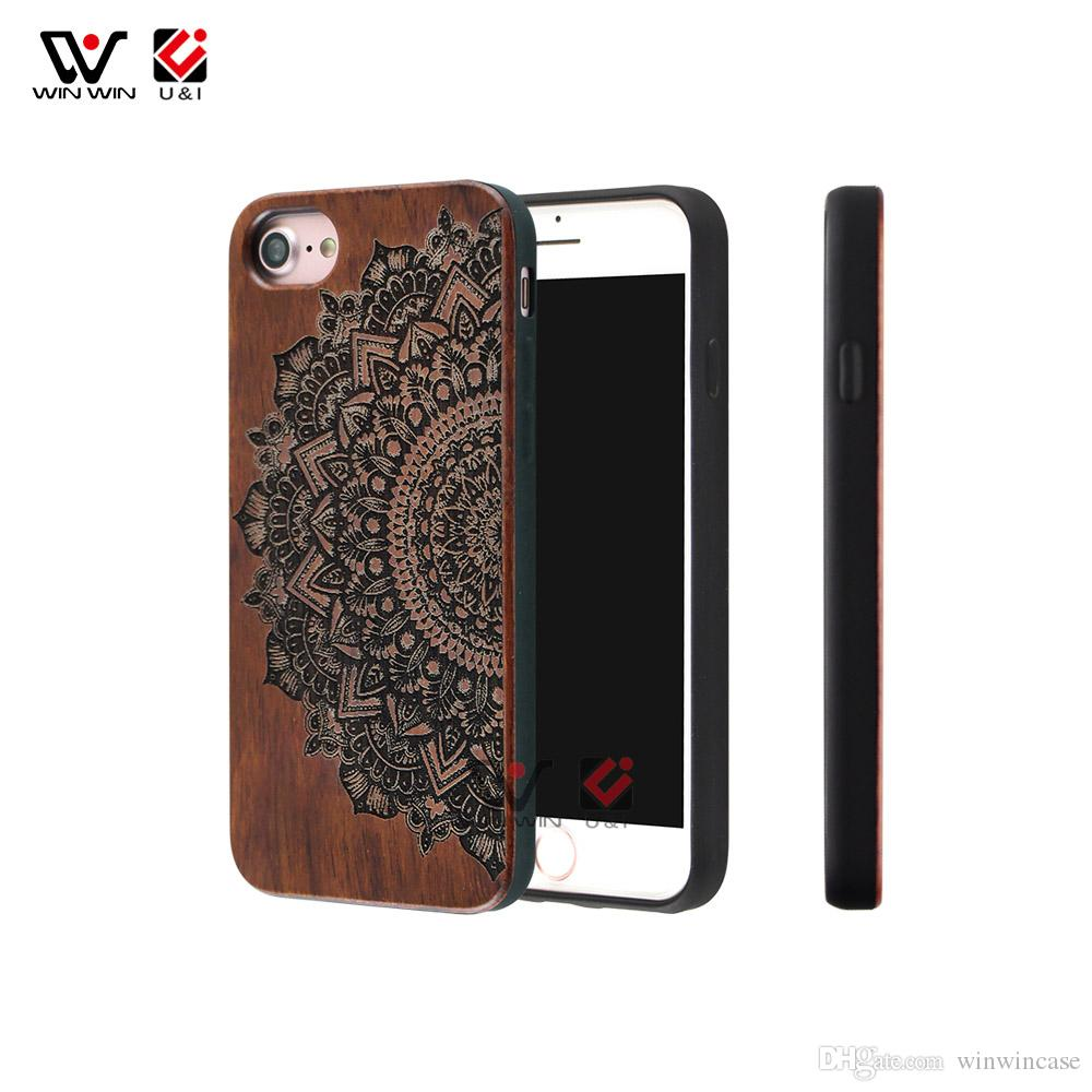 Retro mandala wood cell phone case universal for iPhone 6 6s 7 8 6plus 7plus 8plus plus, luxury mobile cover for i Phone