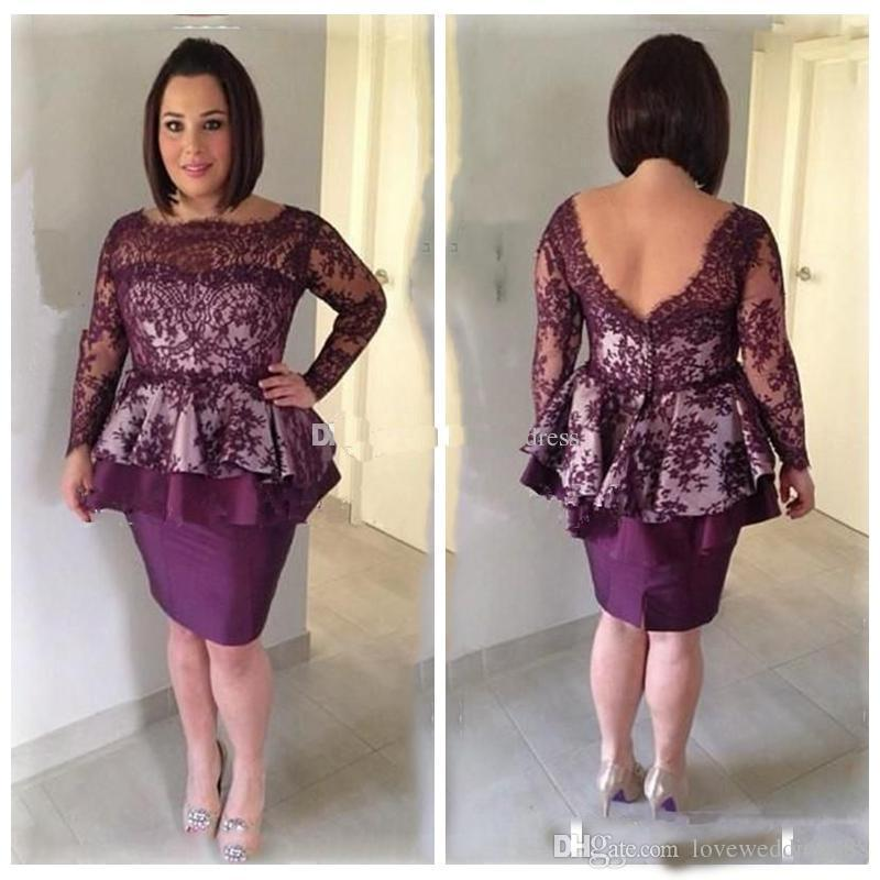Plus Size Elegant Lace Knee Length Mother Of The Bride Dresses Peplum  Bateau Long Sleeves Mother Dresses Short Party Formal Gown Mother Of The  Bride ...