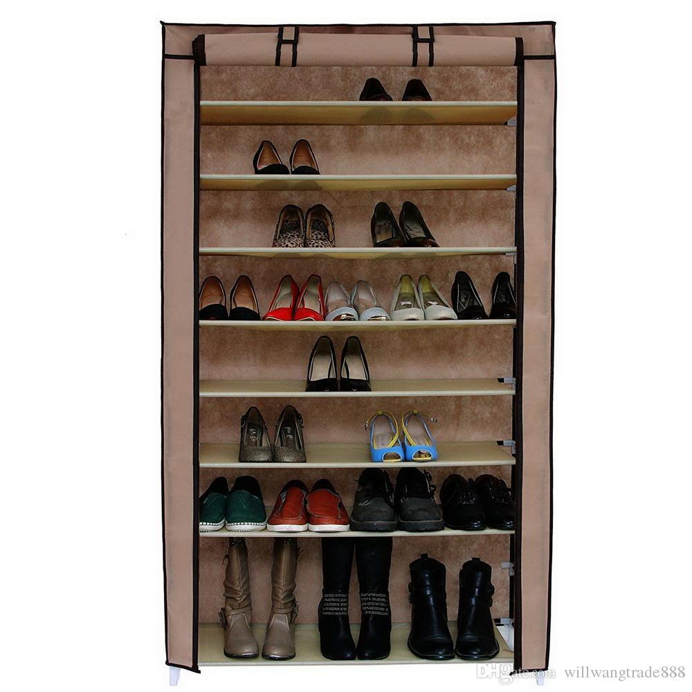 Meuble Chaussure Pour Placard acheter support À chaussures 10 niveaux avec couvercle anti poussière  meuble de rangement pour armoire de rangement pour chaussures mocha de  21,29 €