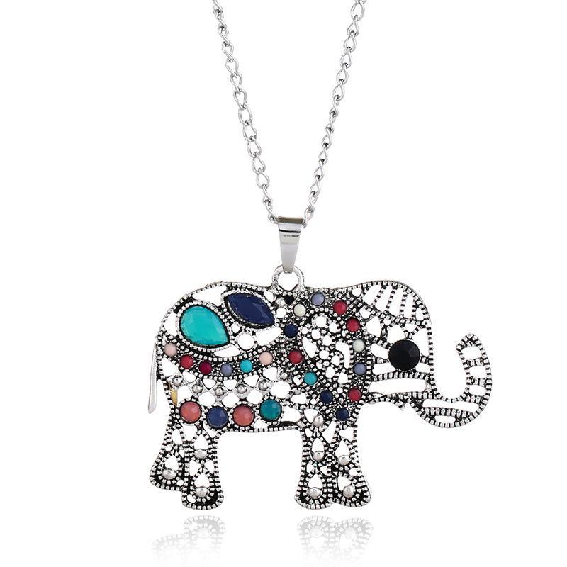 Multicolor Rhinestone Crystal Elephant Sweater Necklace Long Necklace