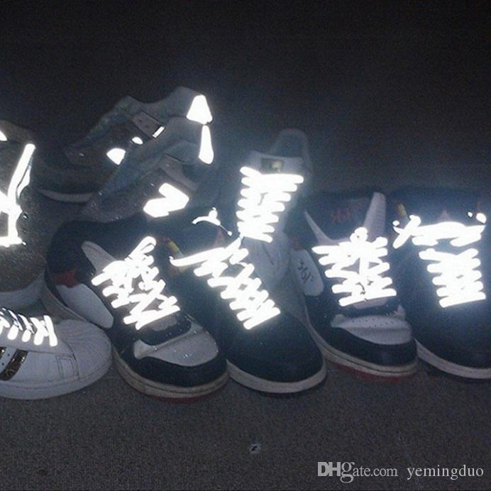 10 쌍 눈에 띄는 이중 측면 반사 러너 안전 빛나는 빛나는 신발 끈 스포츠 농구 캔버스 신발을위한 유니섹스