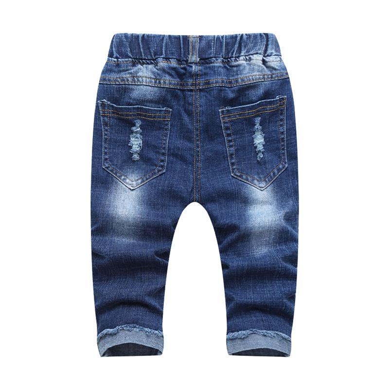 Kids Hole Jeans Heart Pattern Boys Trousers Fashion Girls Pencil Pants Elastic Waist Children Jeans Autumn Spring Cotton Jeans